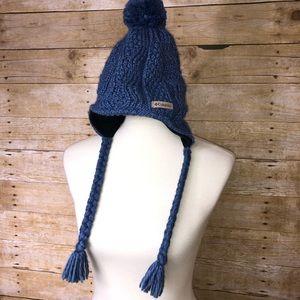Columbia Light Blue Knit Pom Pom Hat